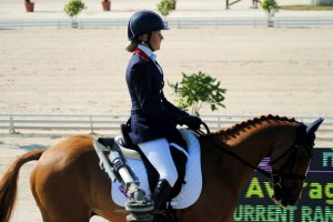 Yasmin Ingham in her Rapport Dressage Saddle at The European Championships 2013