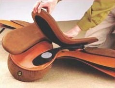 Independently attached, the panels compress and flex on either side of the horse's spine in response to the back motio