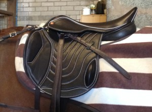 Elevation Jump Saddle, Brown Italian Calf, White Piping and Stitching