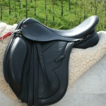 The Evolution Endurance Saddle, Black. Italian Calf, Flock Panel, Arabian Fit.
