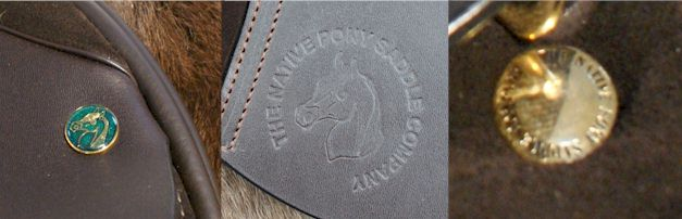 "All Saddle Exchange Native Pony Saddle Company Saddles will have a Green Nailhead, The Native Pony Cold Leather Stamp & Gold Flap Nail under the skirt by the ""D"" Ring with native pony saddle company written on it."