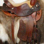ReactorPanel Western Tooled Swell Fork, Dual Rigged, Reigning Saddle Made in Mid Brown