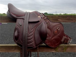 Comfort Elite Eurospec Elevation Monoflap with matching stirrup leathers and StudGirth